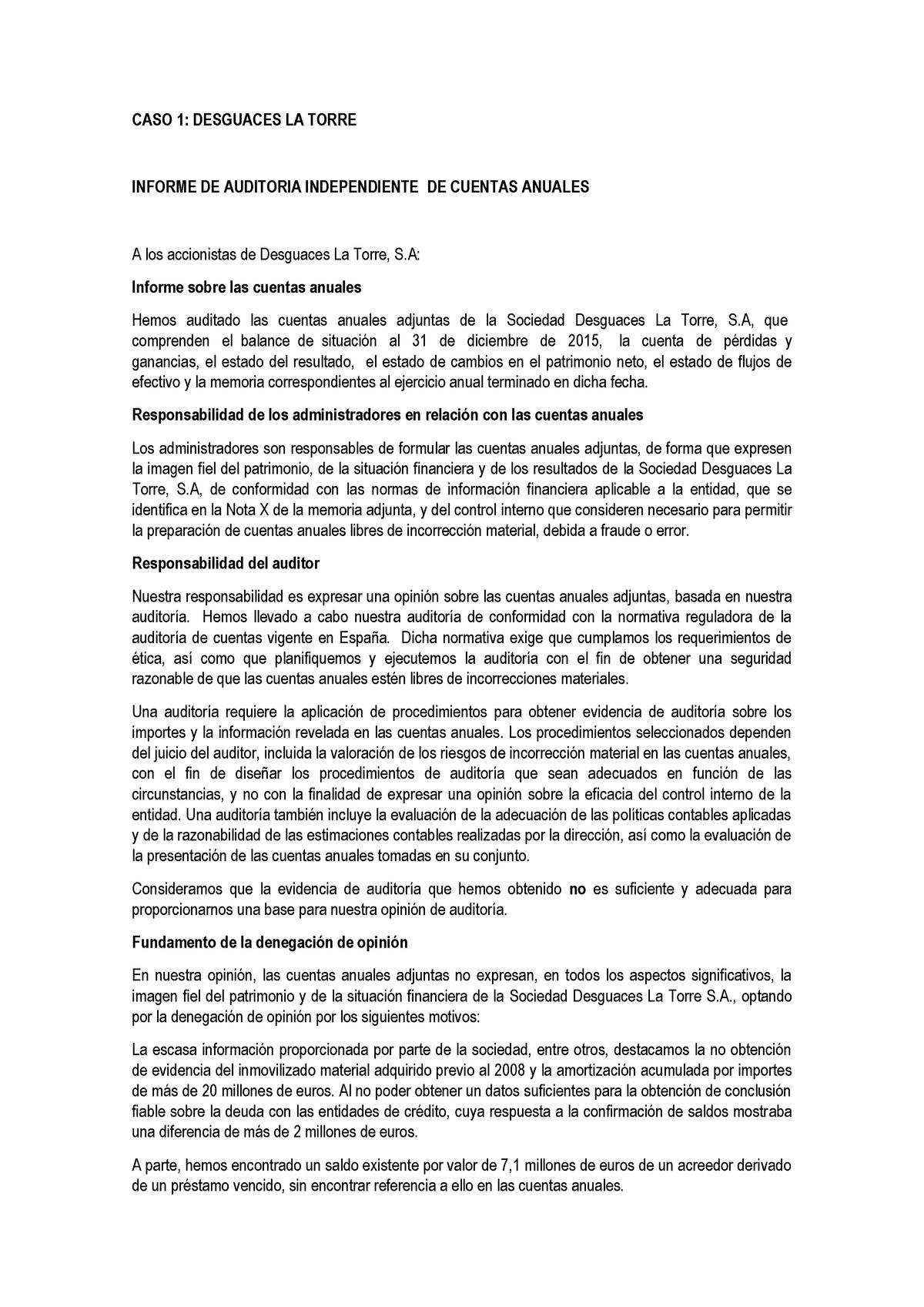 Casos Practicos Informe De Auditoria Resueltos Studocu