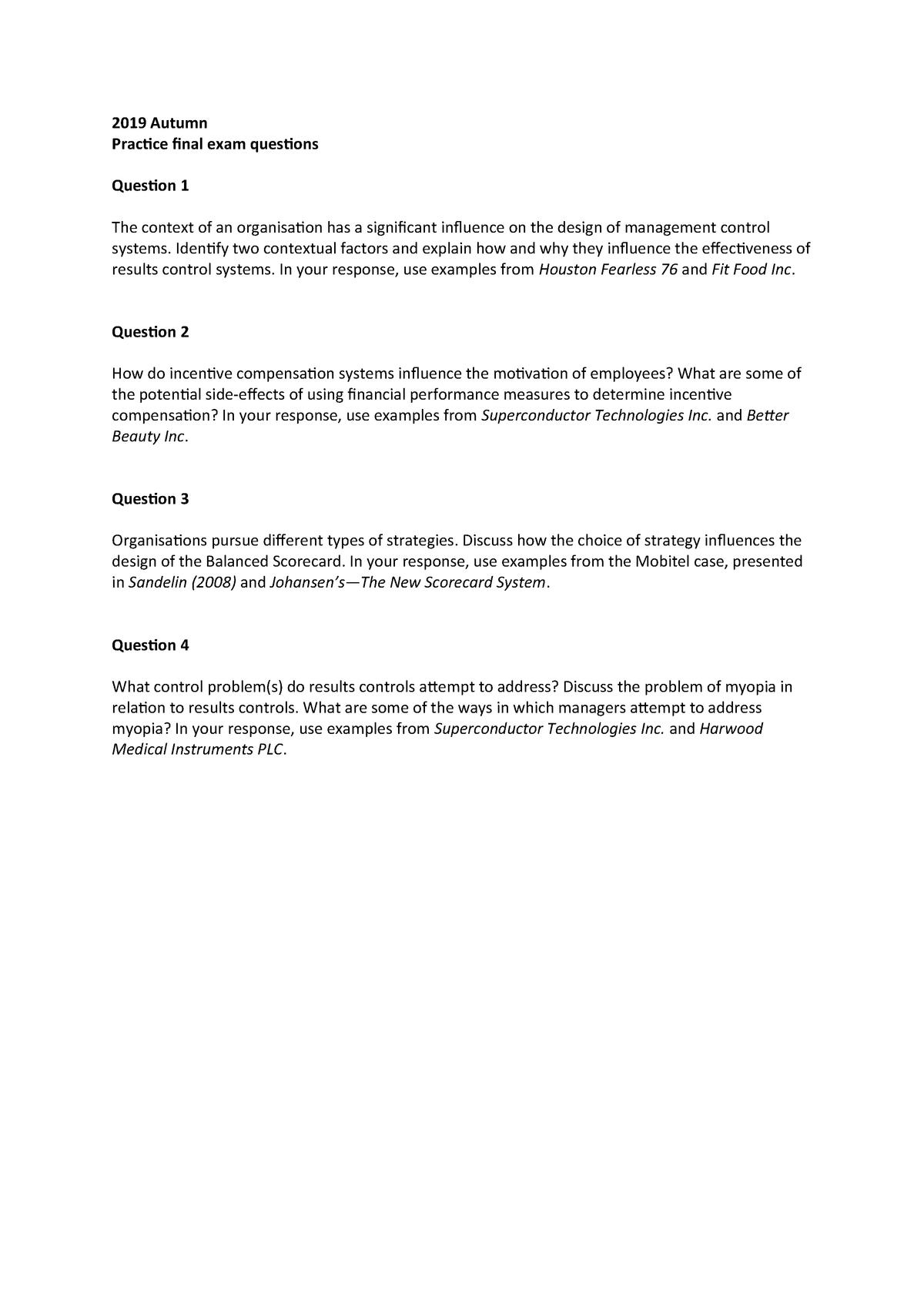 Practice Final Exam Questions (2019 Autumn) - 022705 : Management