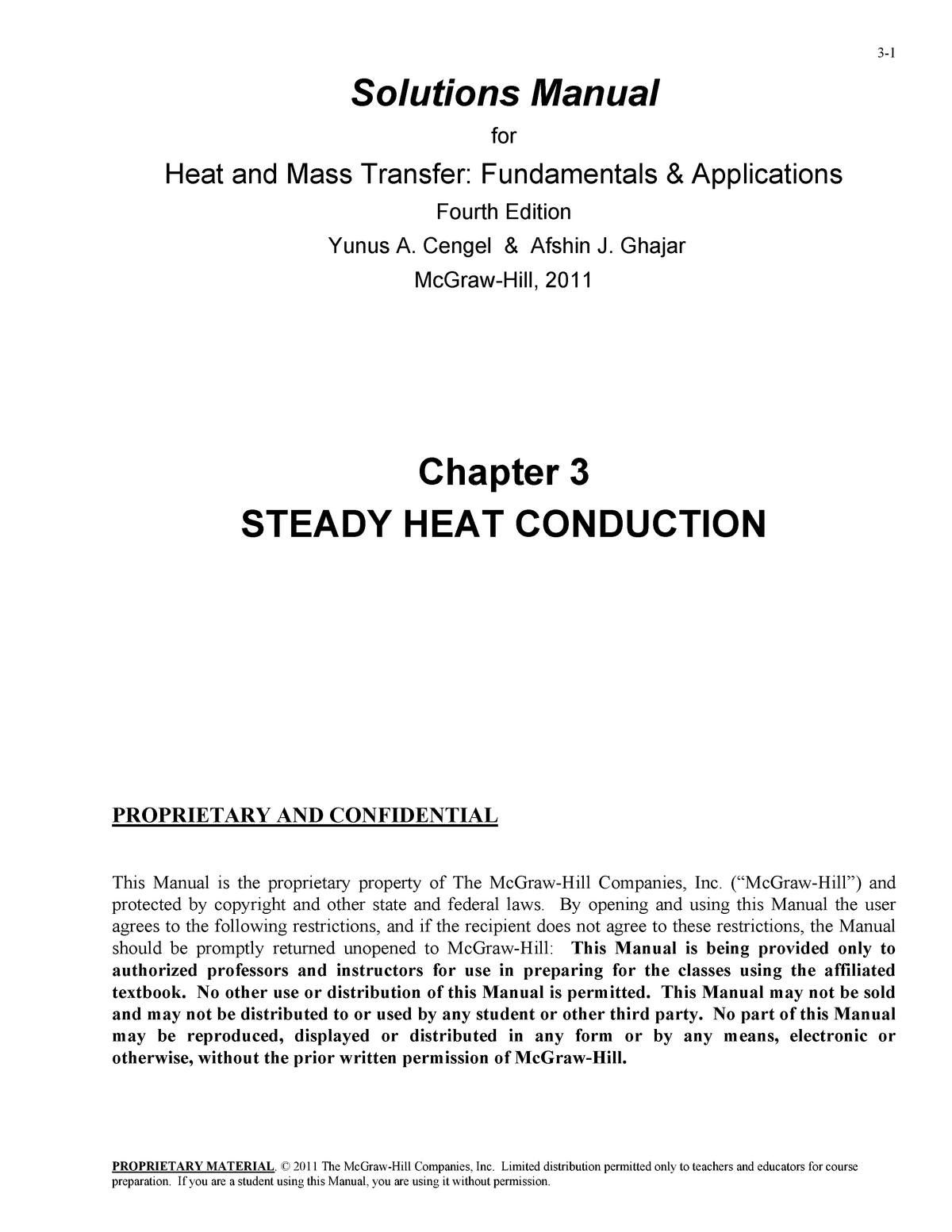 Solution Manual Heat And Mass Transfer Cengel 4th Edition Chapter 3 Proprietary Studocu