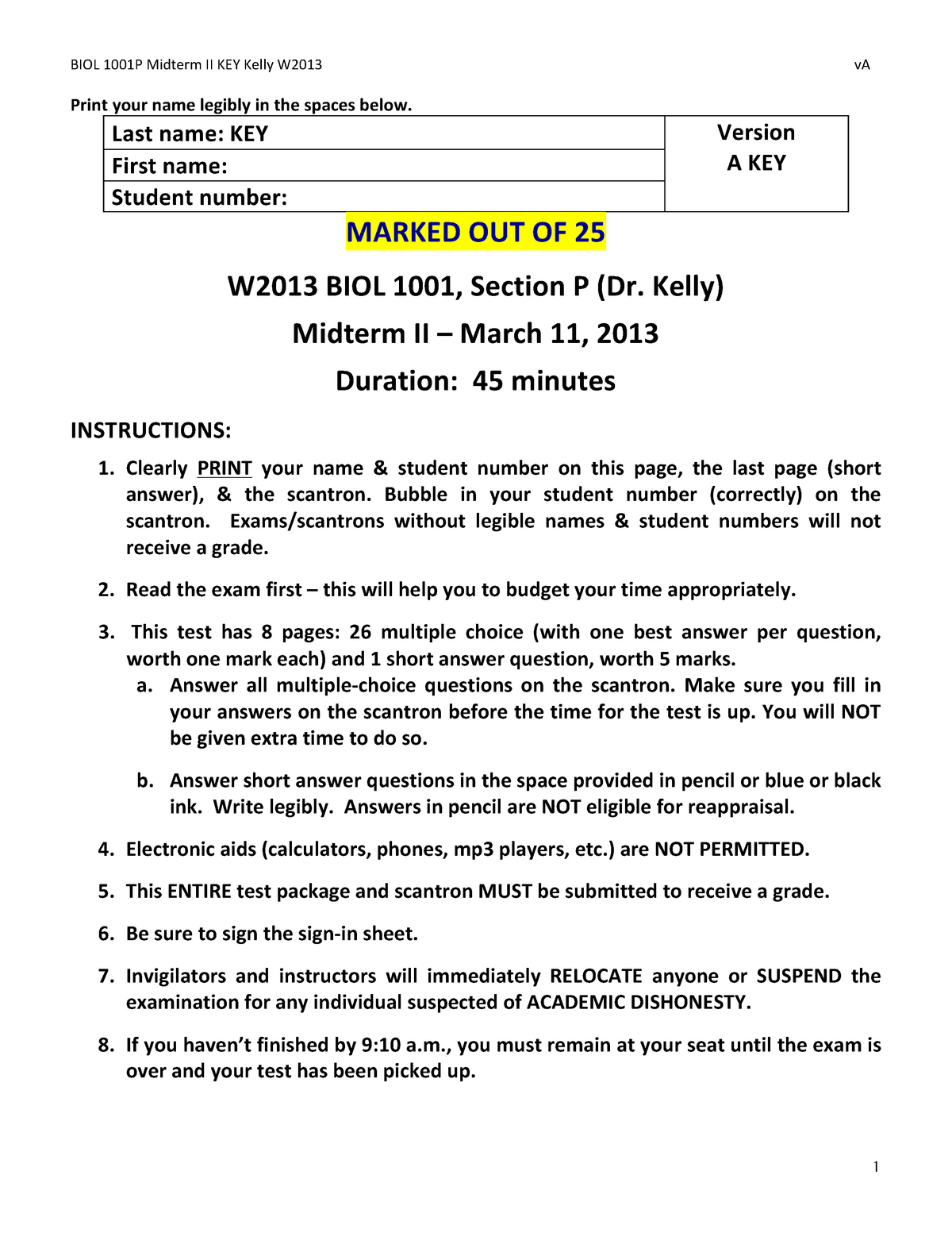 Exam 11 March 2013, questions and answers - Sc/Biol 1001