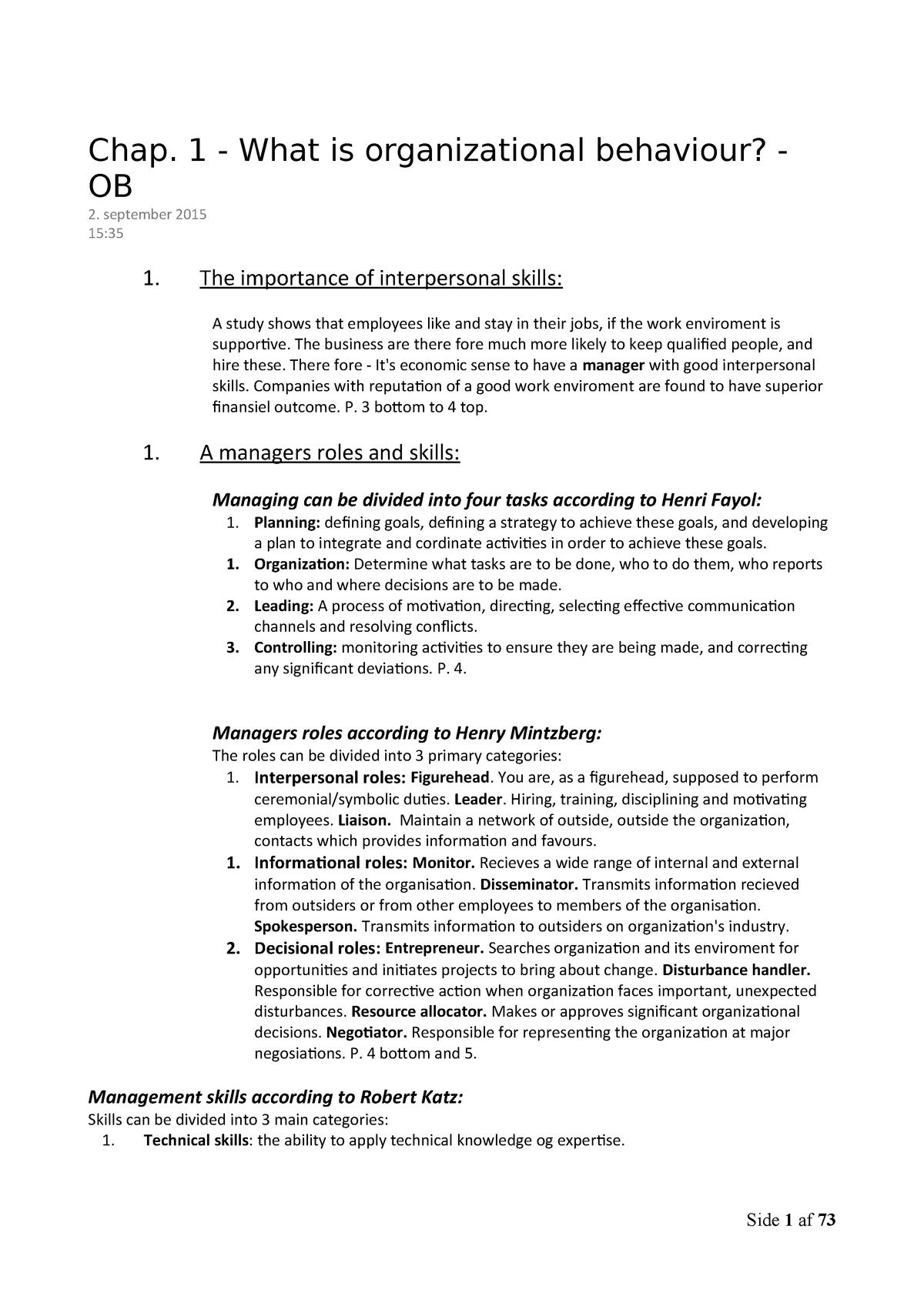 Organizational Behavior - Notes - Organisational Behaviour