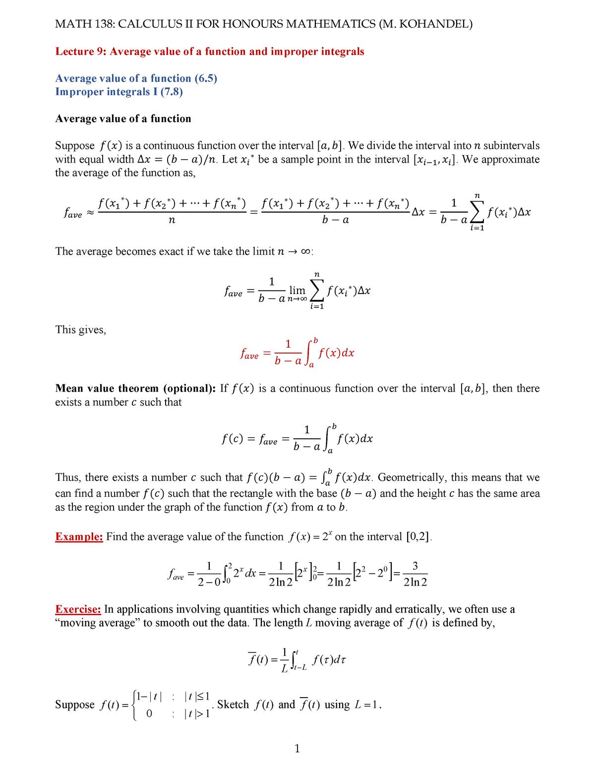 Math138-Lecture 9 - waterloo - Math 138 - StuDocu