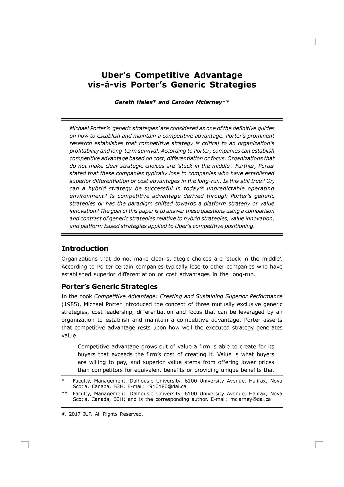 Uber case study advantage - BUSM4176 - RMIT - StuDocu