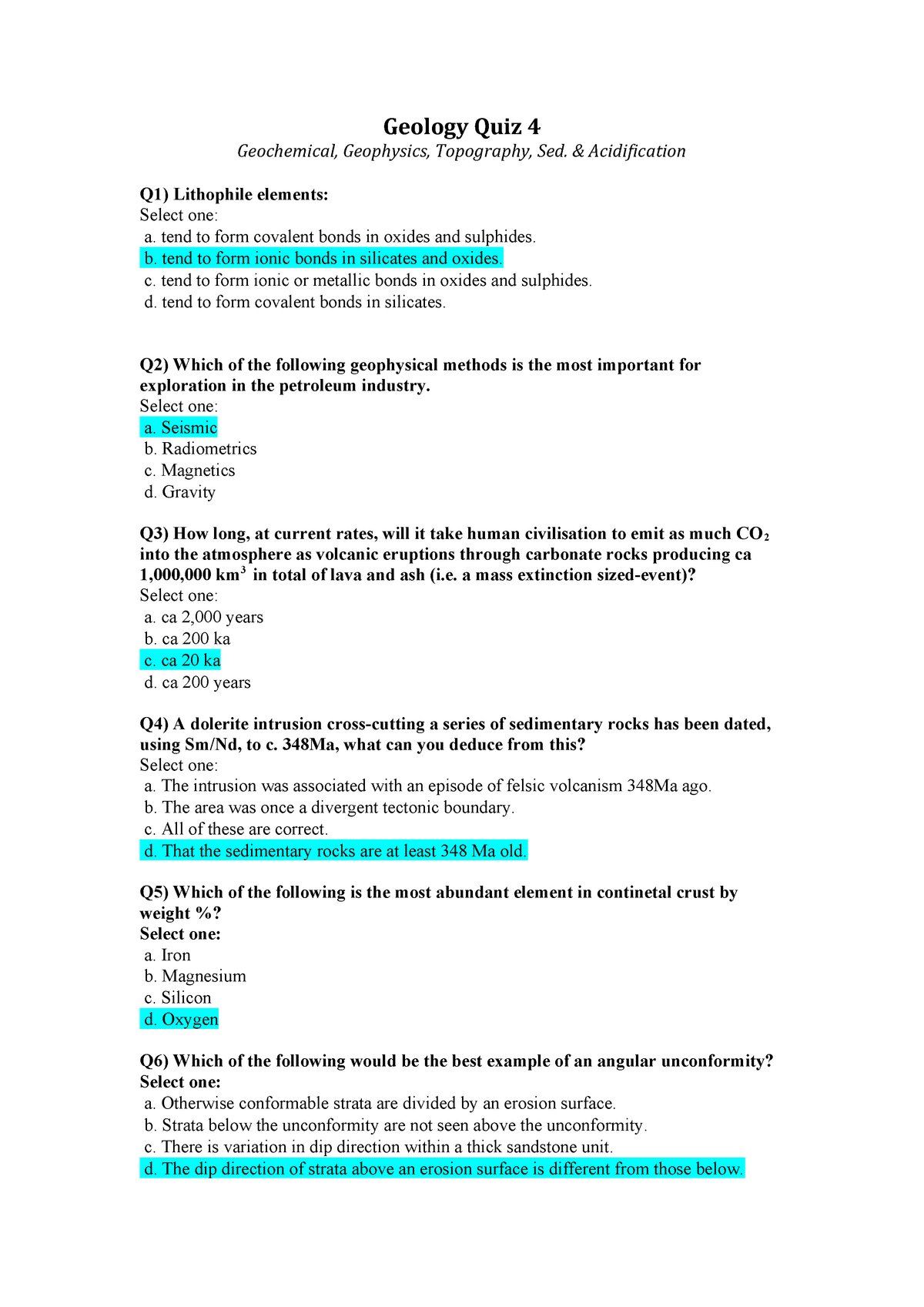 Practical - assessed quiz 4 questions and answers - EART1105