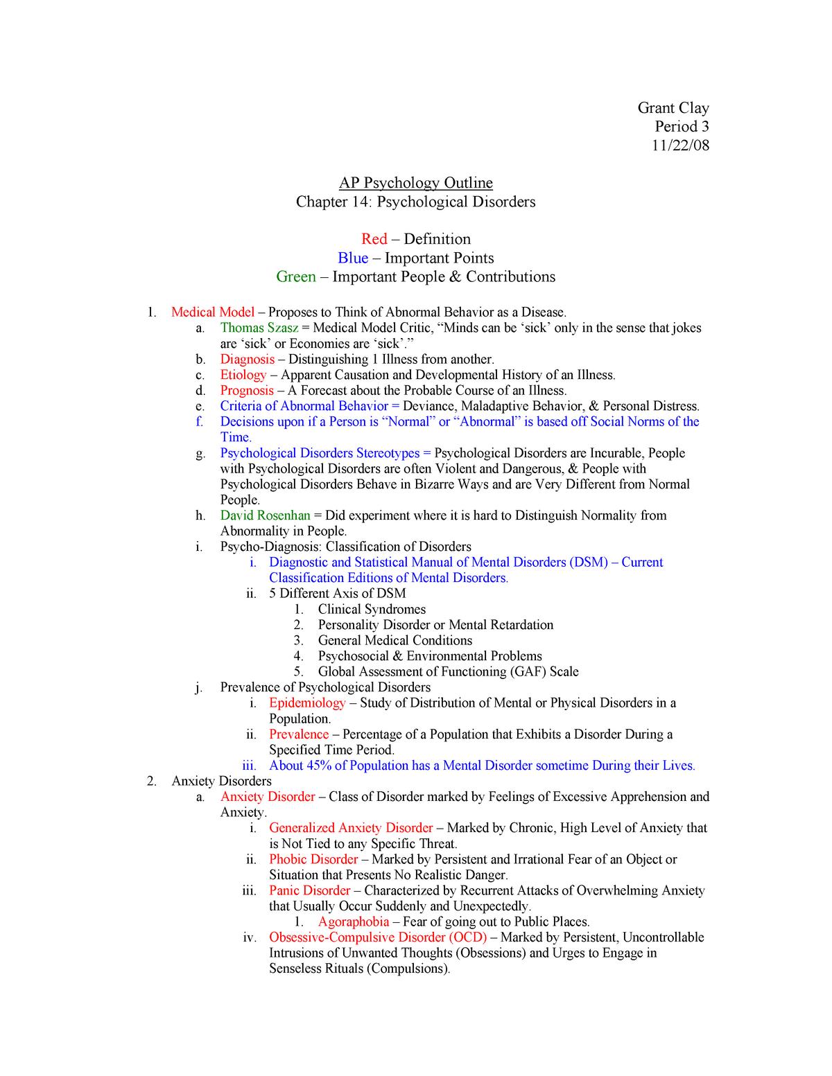 APP Ch 14 Outline Psychological Disorders - PSCH 350 - StuDocu