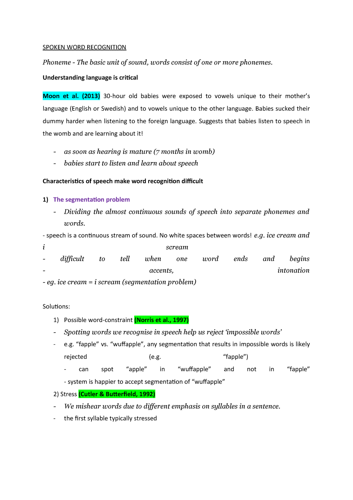 3 Word recognition - Cognitive Psychology - RHUL - StuDocu