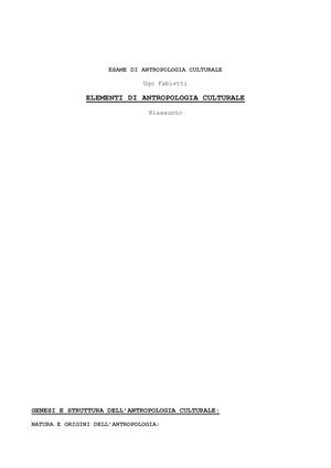 Antropologia Culturale Antropologia Culturale