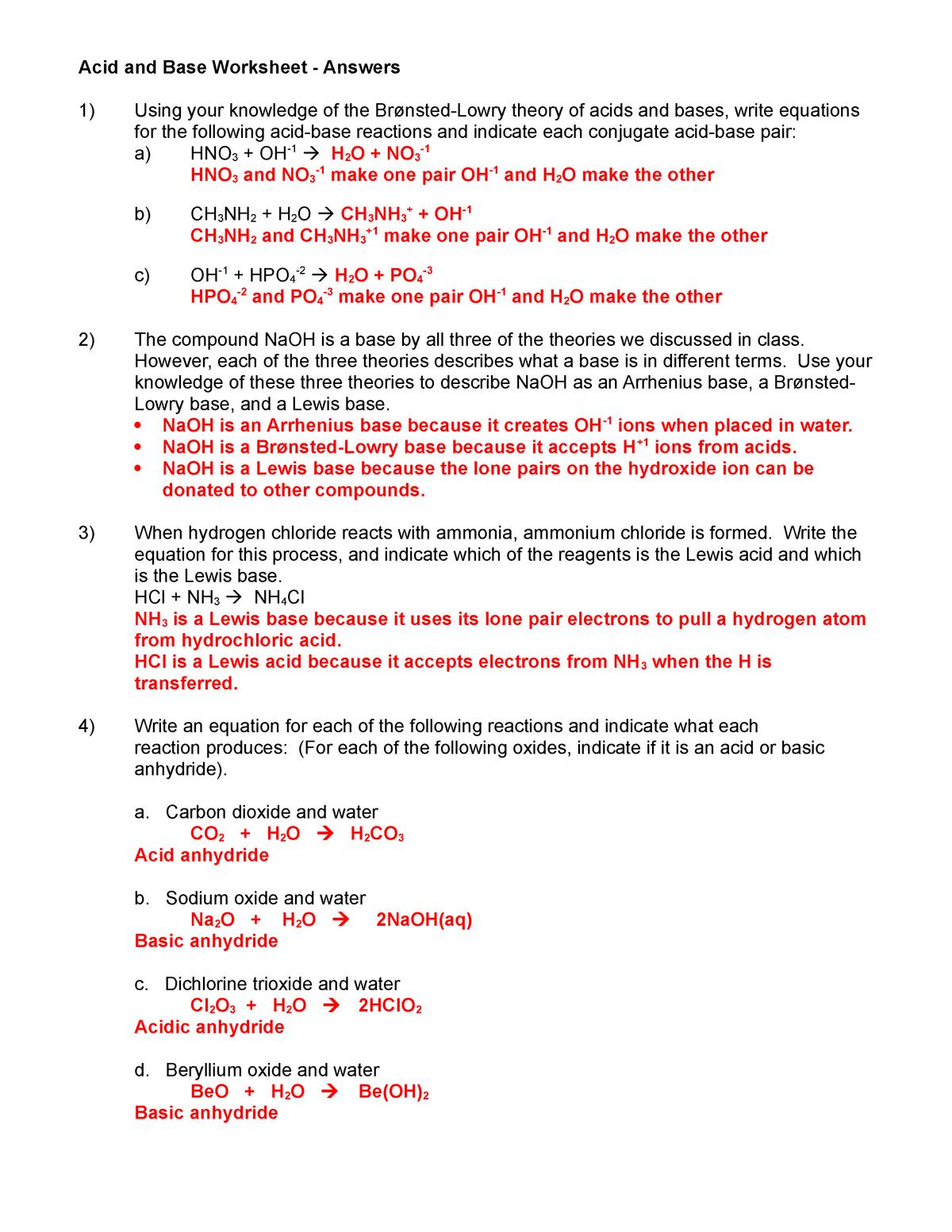 Acid and Base Worksheet 1 07 08 ans key   BUS K 201   StuDocu