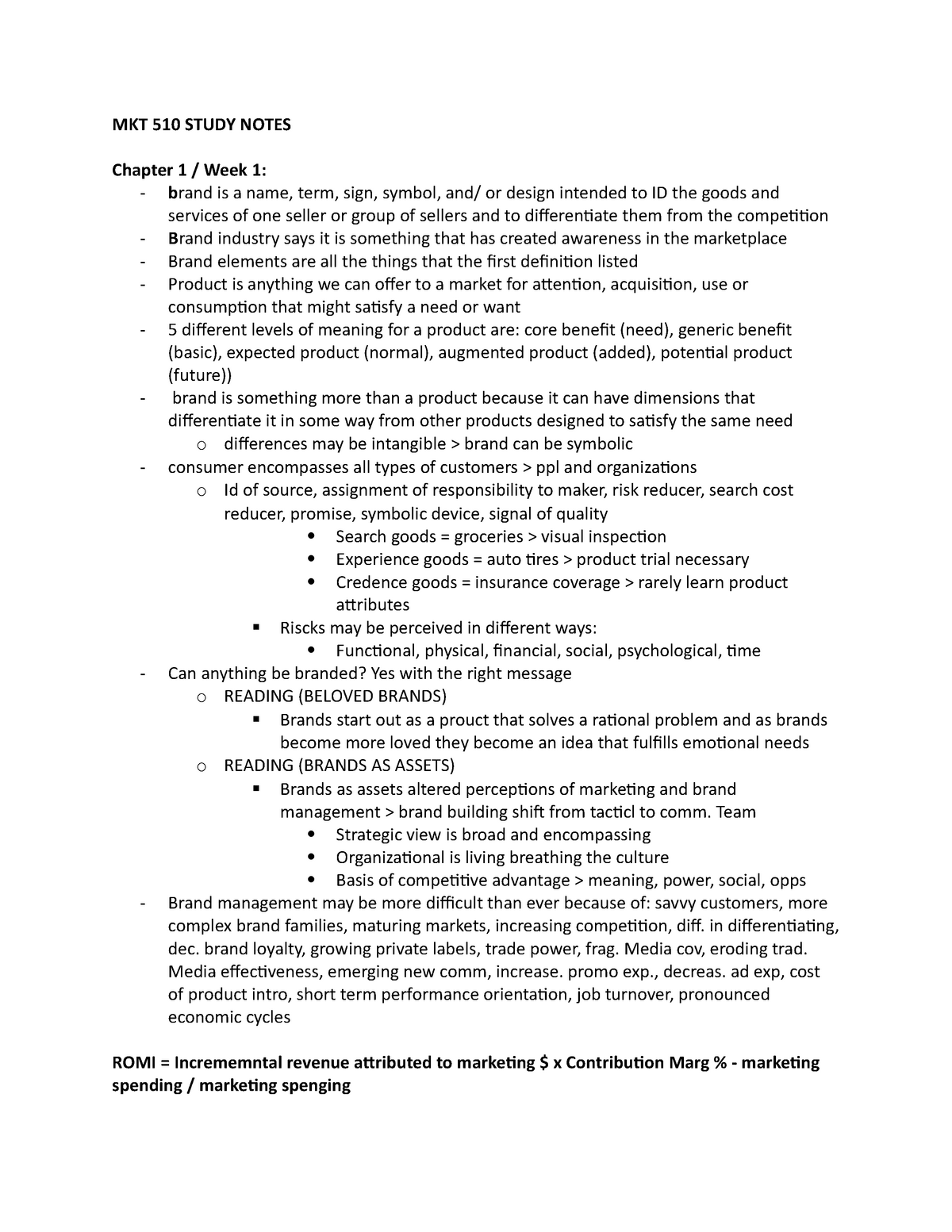 Lecture notes - pre midterm study notes - Cmkt 510 - Ryerson