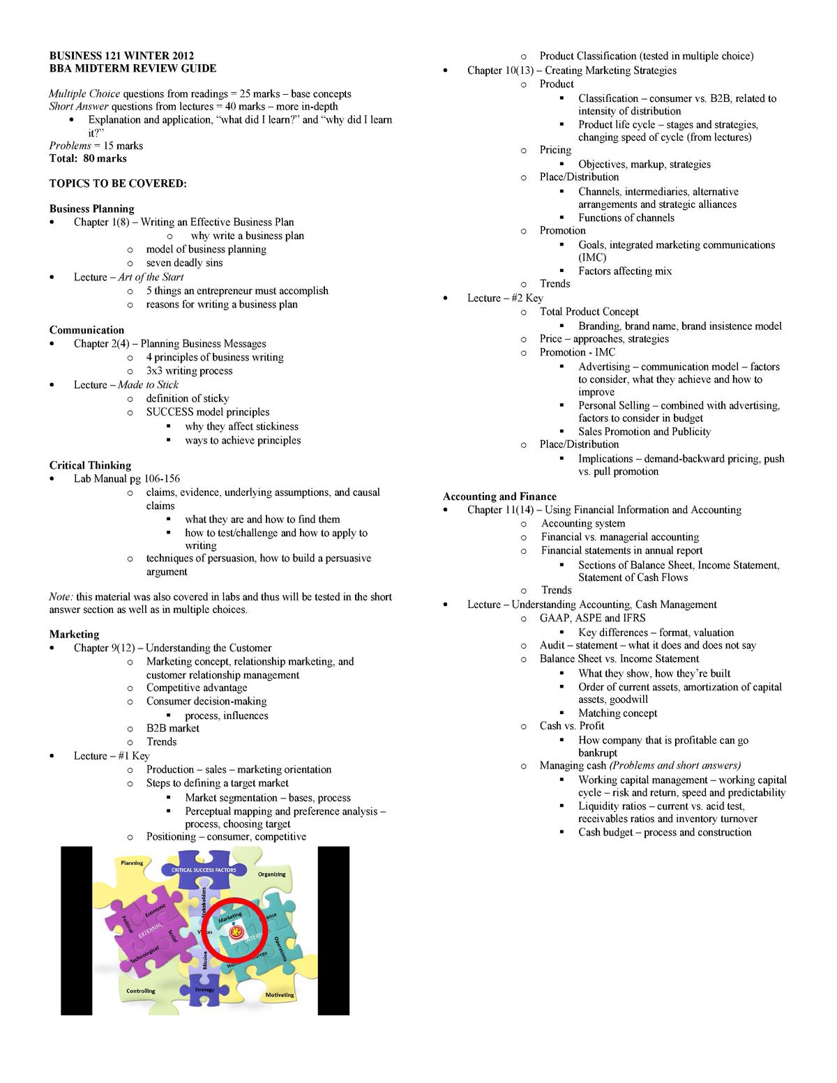 212167926 BU121 Study Guide - Functional Areas - StuDocu