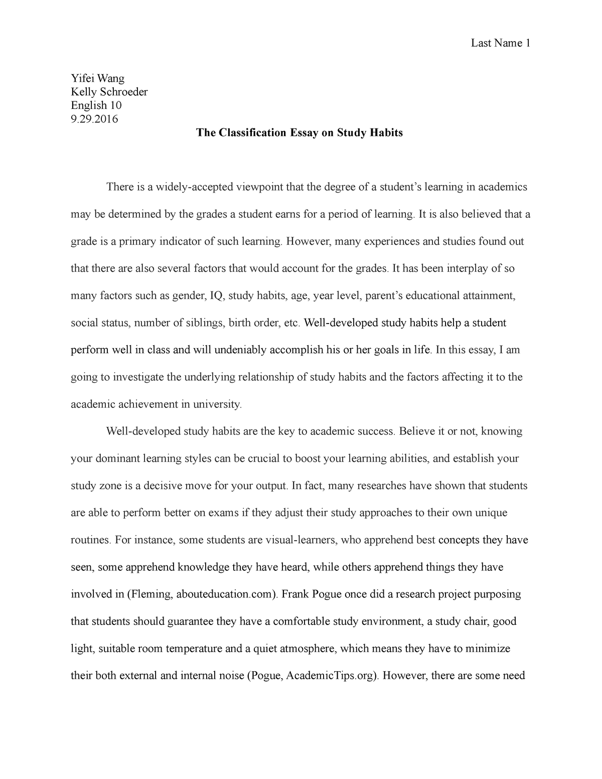 the classification essay on study habits   english  english   studocu
