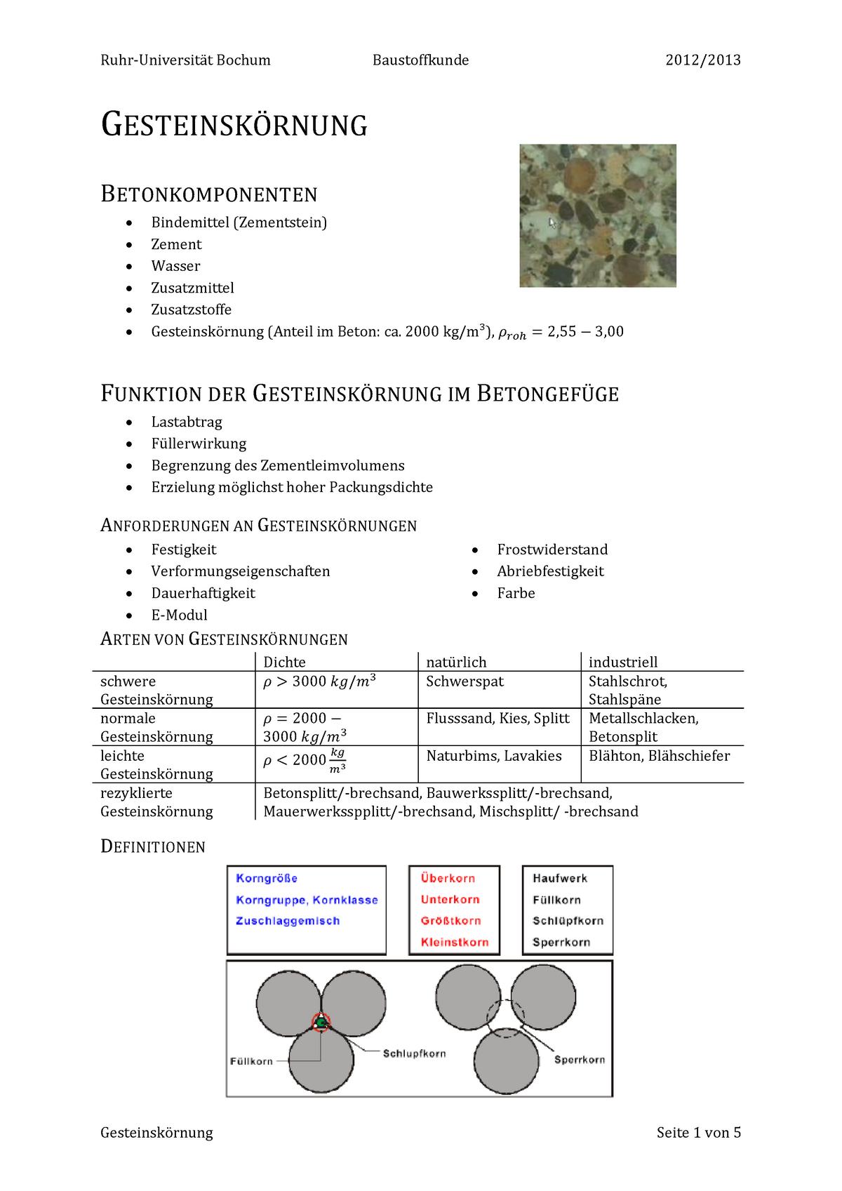 Bekannt Zusammenfassung Gesteinskörnung - Baustofftechnik I 123002 - StuDocu YR76