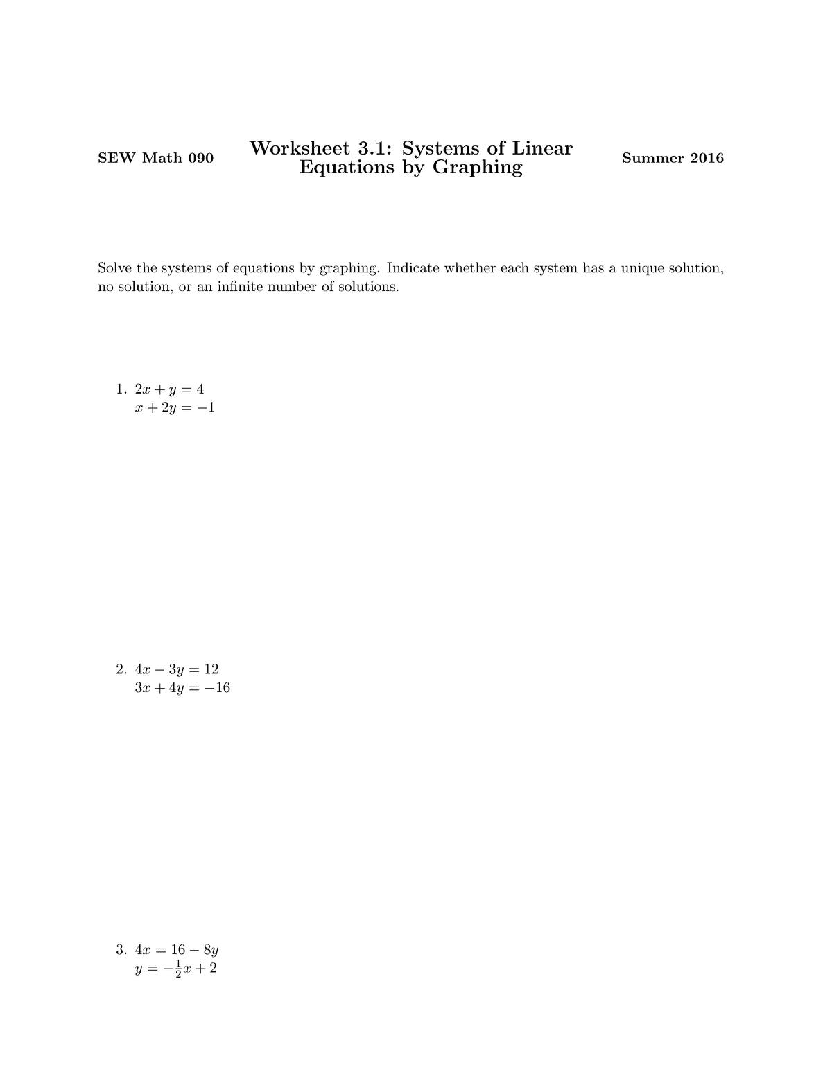 SEW Math worksheet 3 1 - MATH 090: Intermediate Algebra