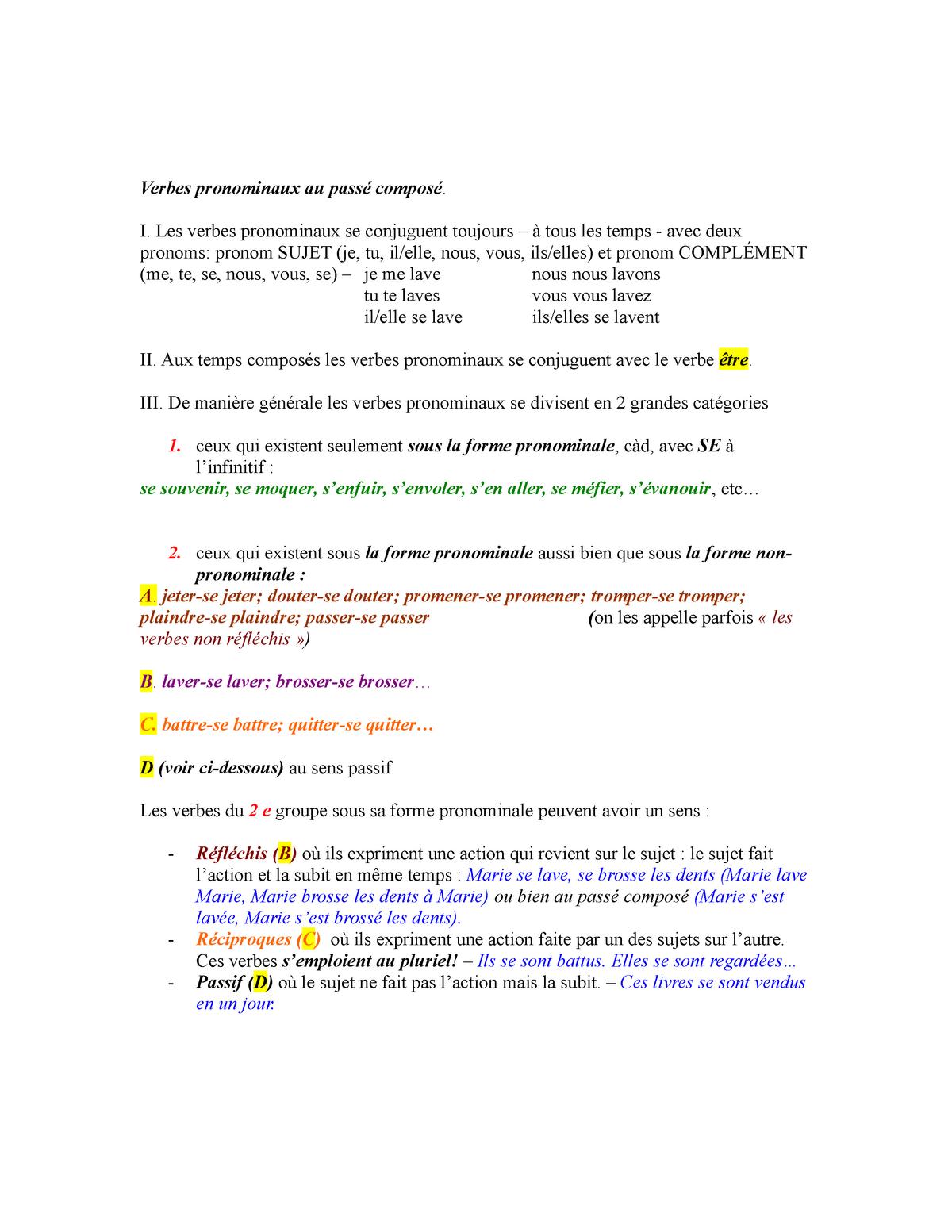 Verbes Pronominaux Accord Au Passe Compose Aide Memoire Studocu
