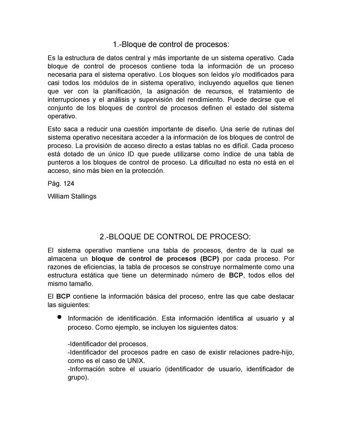 Bloque DE Control DE Proceso - Sistemas Operativos - UAN