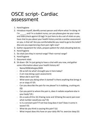 OSCE script- Cardiac assesment - NS2022:03 - JCU - StuDocu