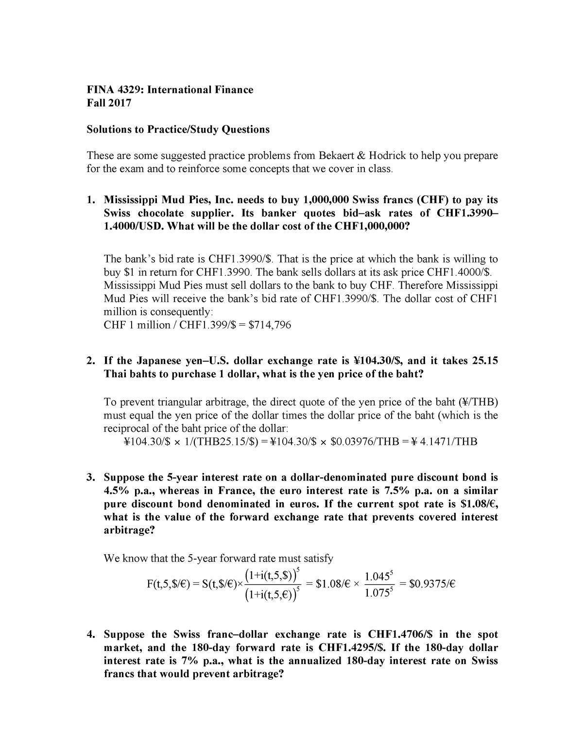 Practice Problem Set 1 Solutions - StuDocu