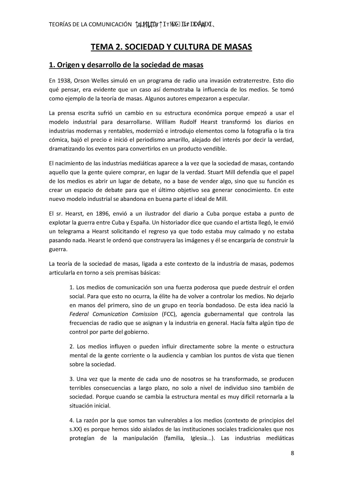 Tcm Tema 2 Teorías De La Comunicación Mediatizada Ub
