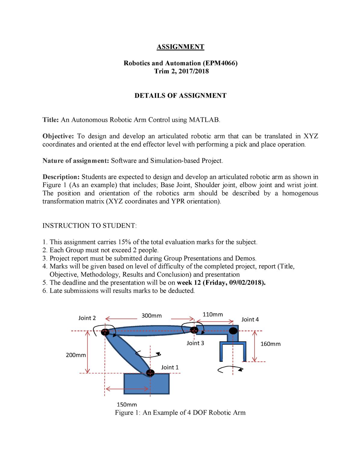 187864 Assignment Project - Robotics & automation - StuDocu