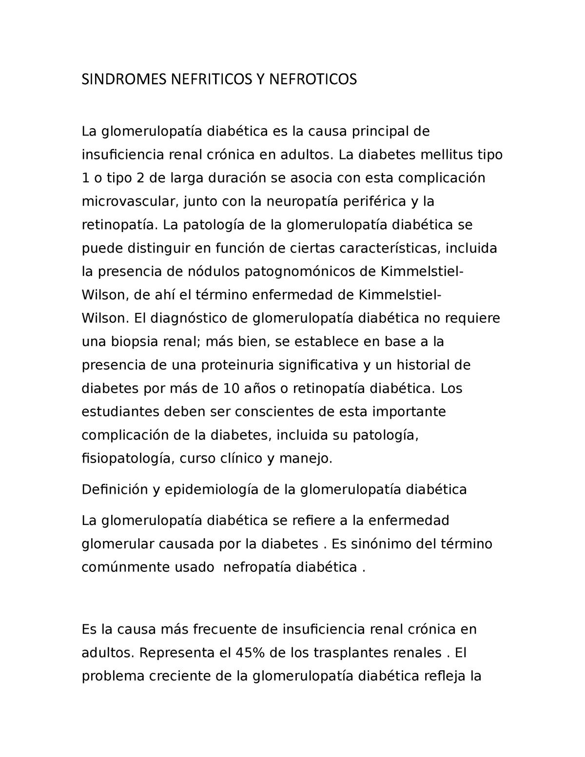 diabetes por glomerulopatía mesangiocapilar