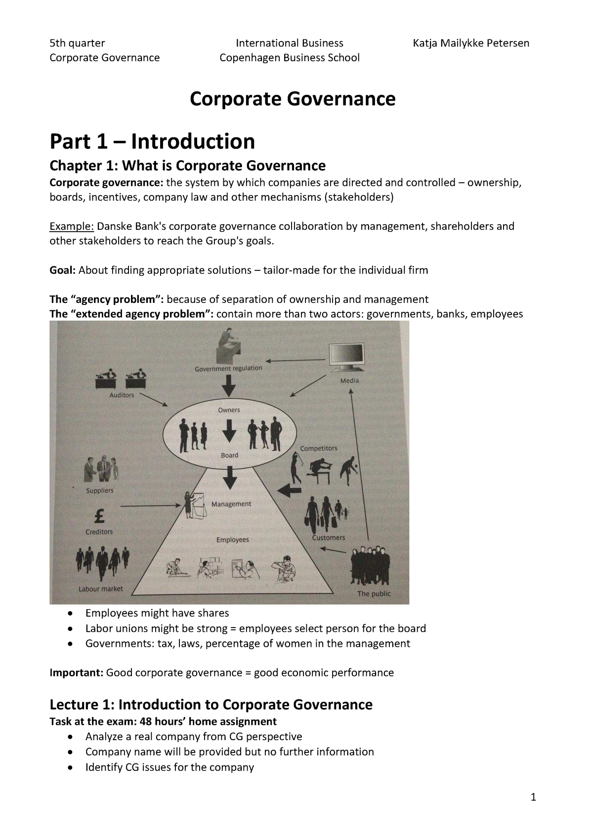 Lecture note - Corporate Governance - Book & Lectures - StuDocu