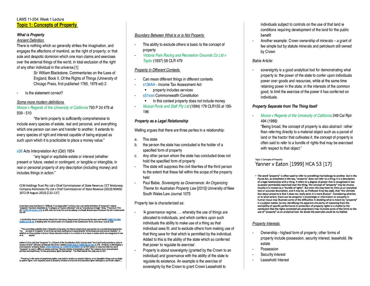 Week 1 Notes - LAWS11-311 Property Law - Bond - StuDocu