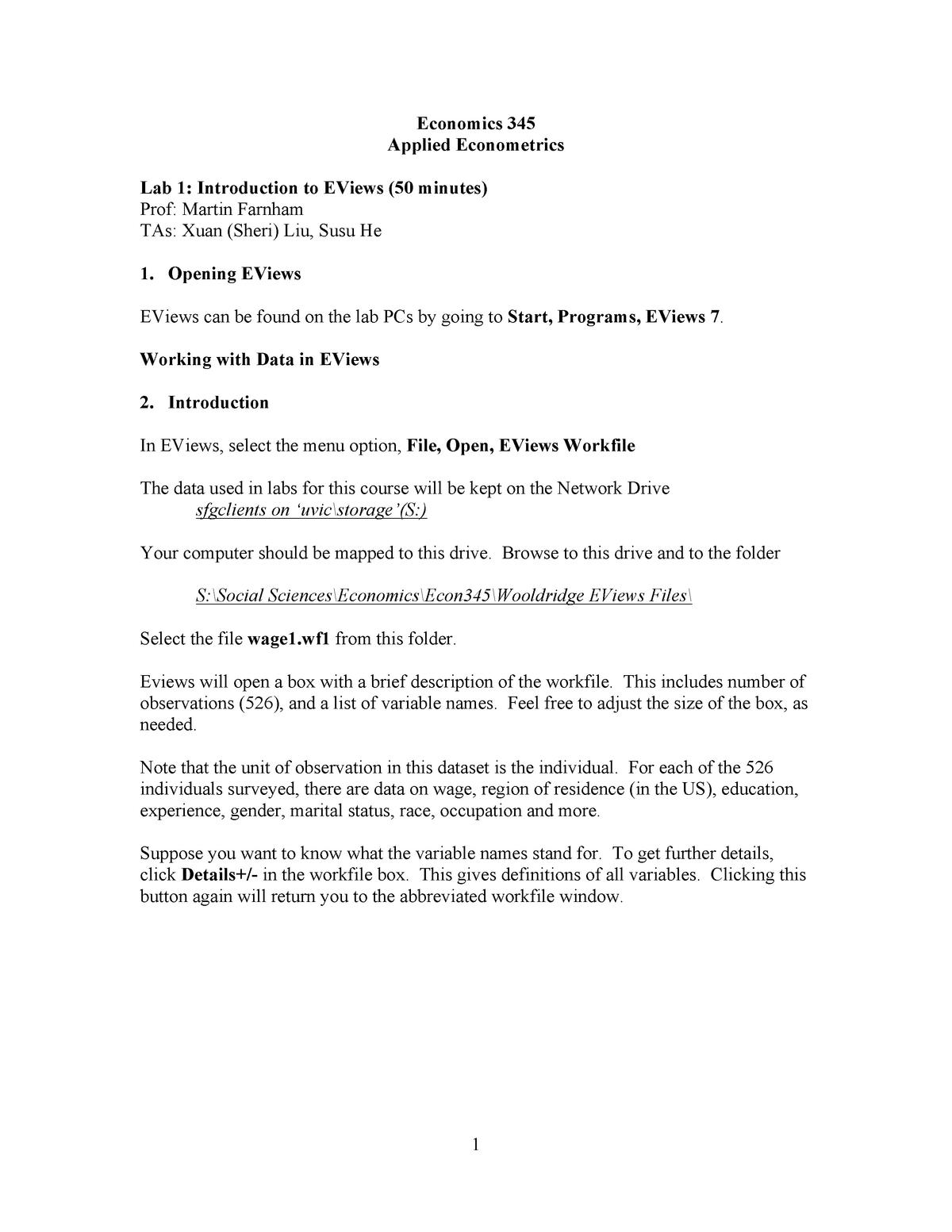 Applied Econometrics - Assignments - lab1 econ345 - Econ345