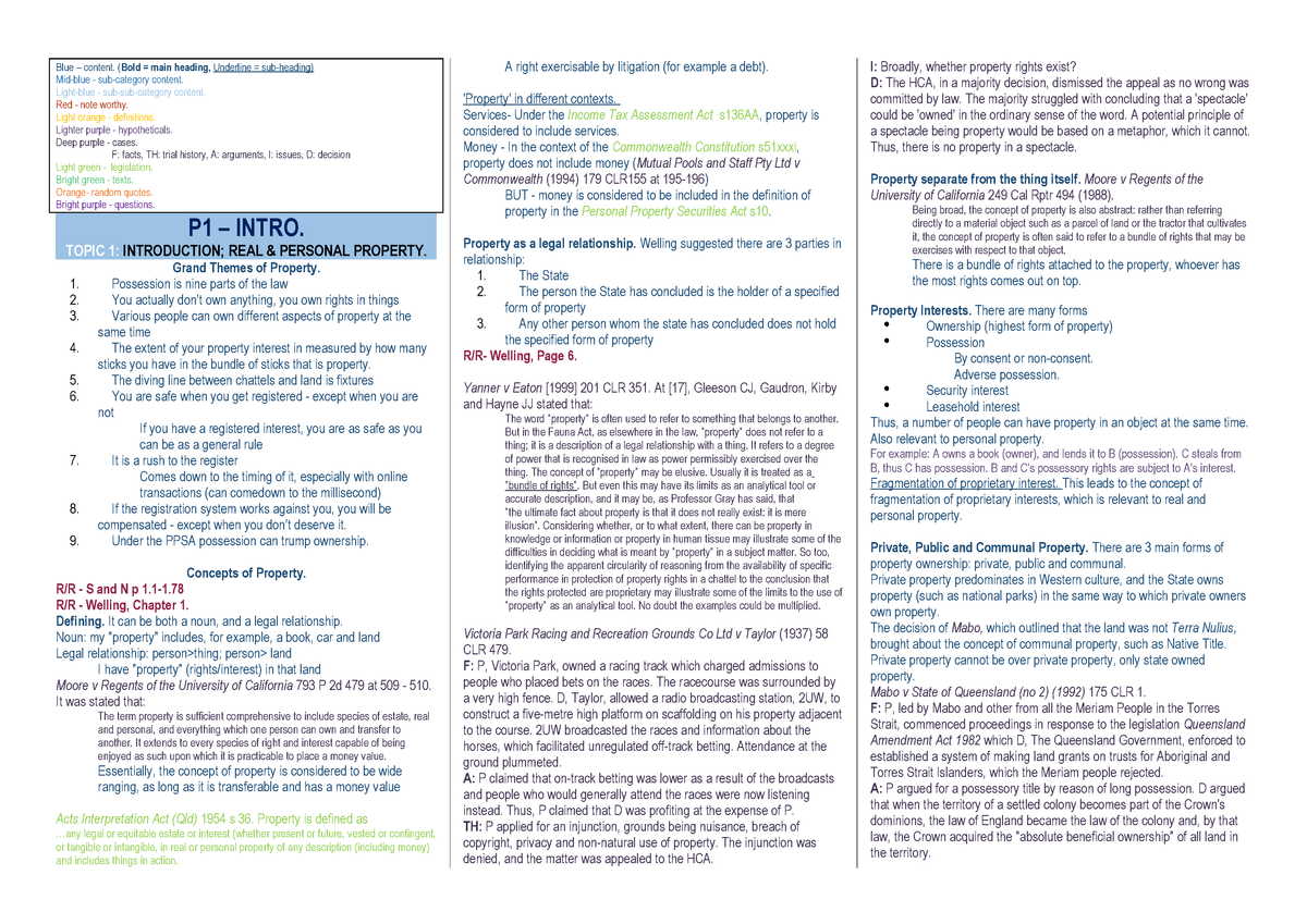 hot sales a37b9 a32c1 Property Law A 182 Full Notes - MGSC30 Law - U of T - StuDocu