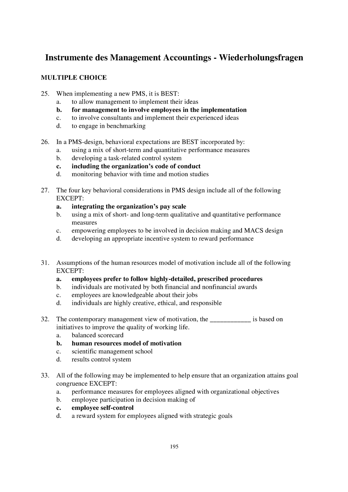 Man Acc Übungsfragen - MA 4 14: Management Accounting - StuDocu