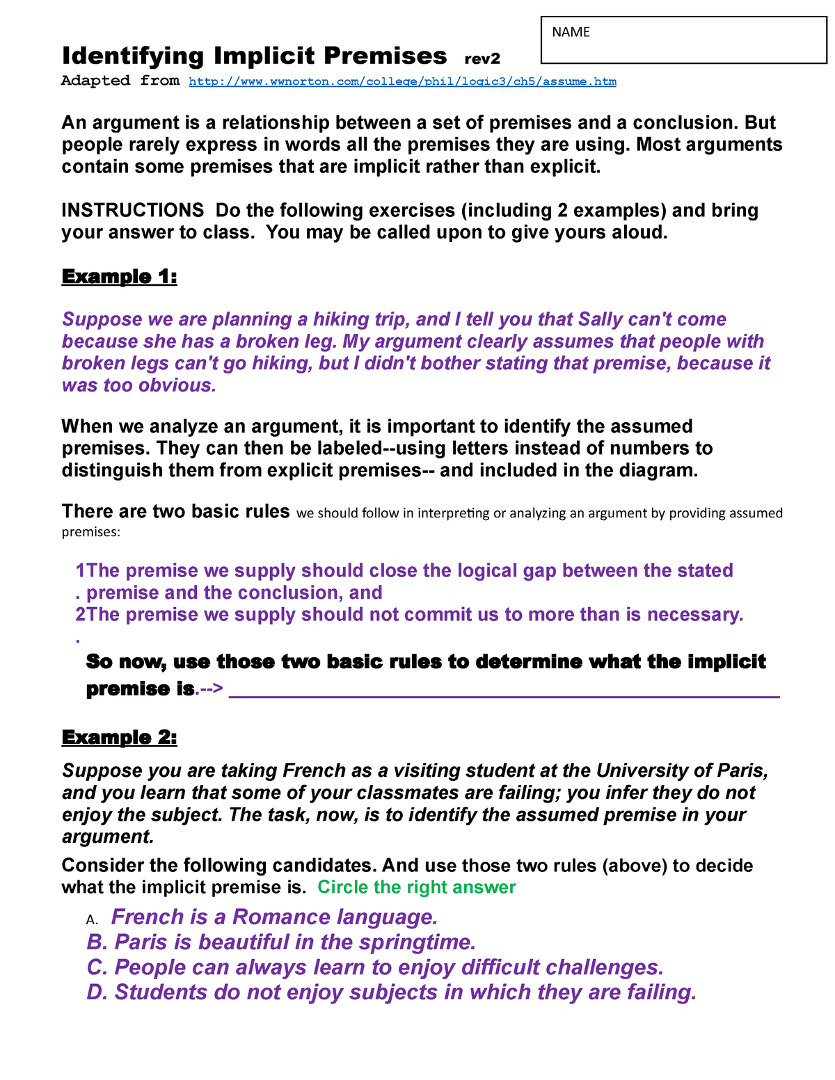 8-Identifying Implicit Premises rev2a - CRT 100: Critical Thinking