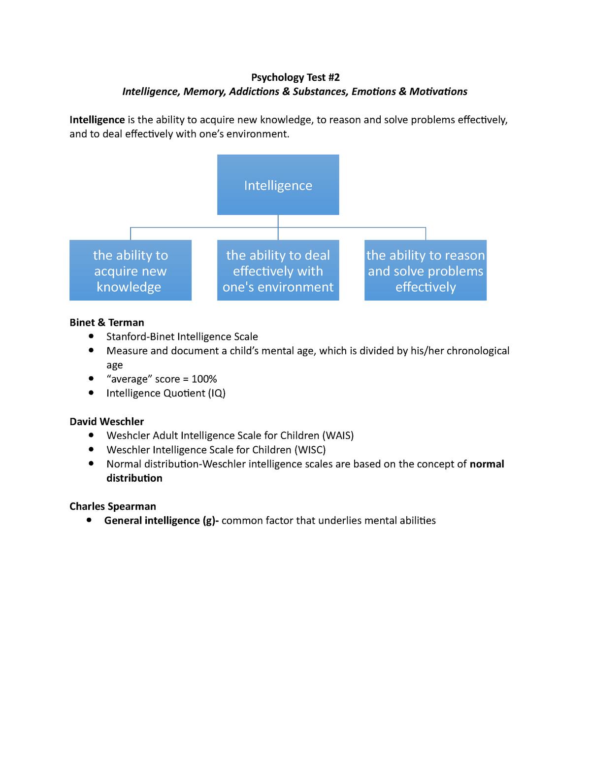 Psychology Test-Unit 2 Study Notes - PSYC-1001: Psychology - StuDocu