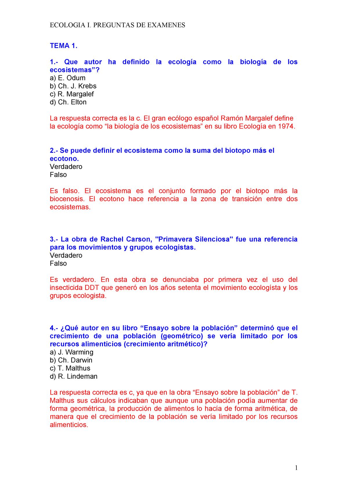Examen Preguntas Y Respuestas Ecologia Studocu
