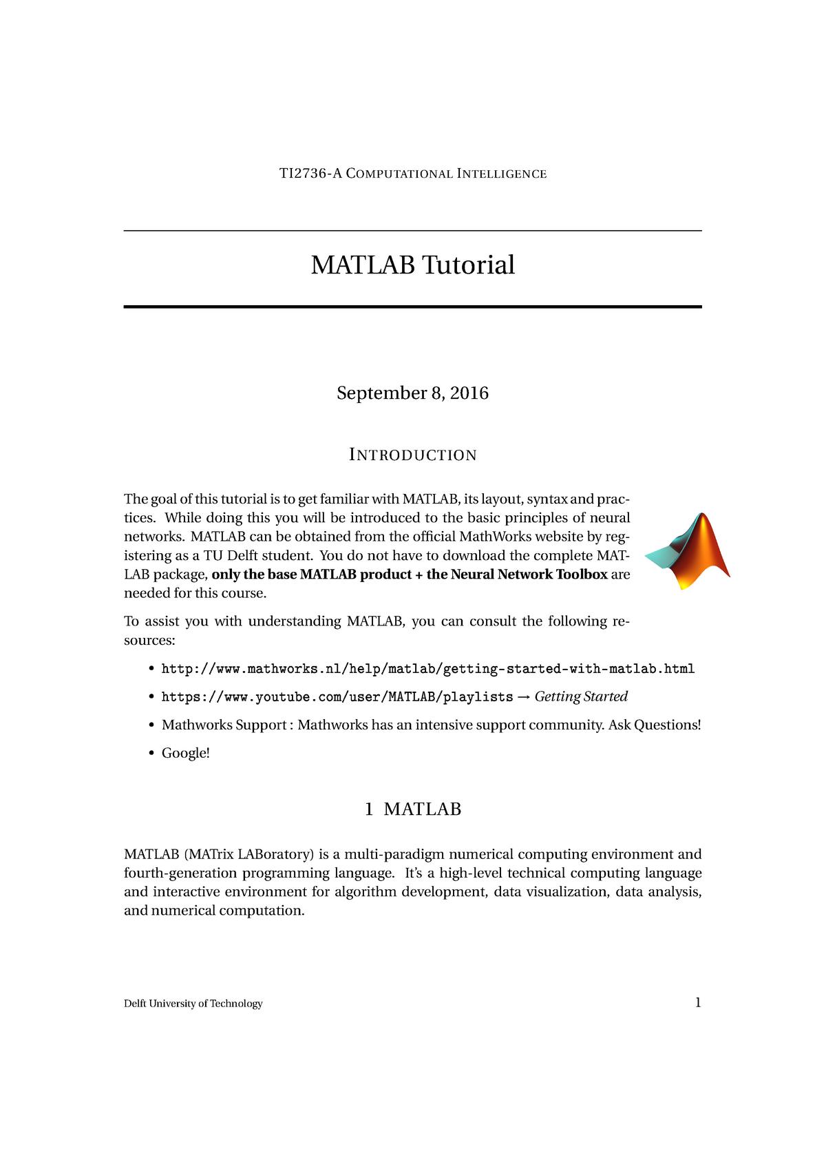 University Matlab