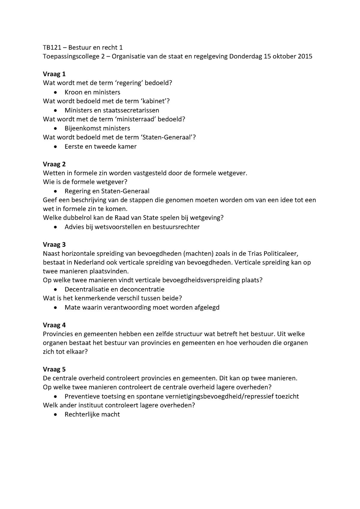 Toepassingscollege 1 Bestuur En Recht 1 Tb121a Tu Delft