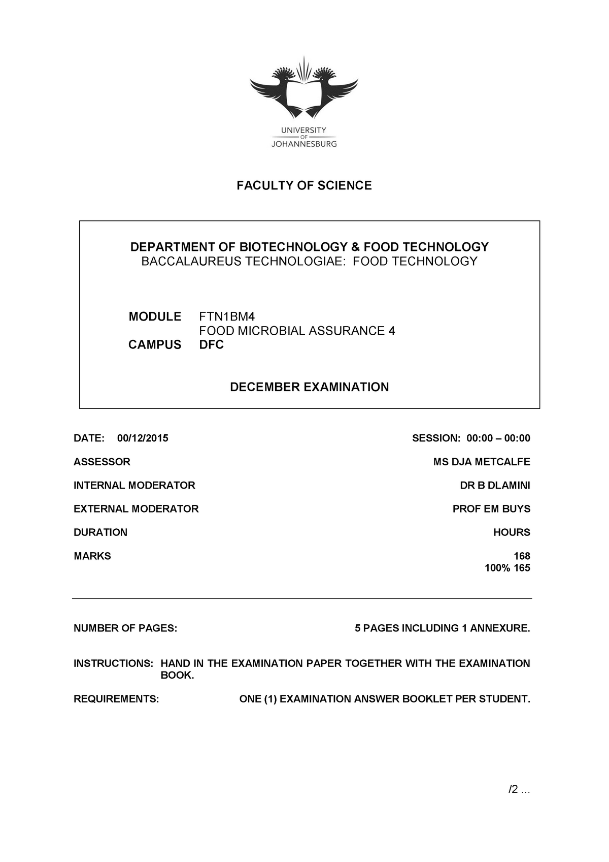 Exam 2015 - DI1510: Biotechnology - StuDocu
