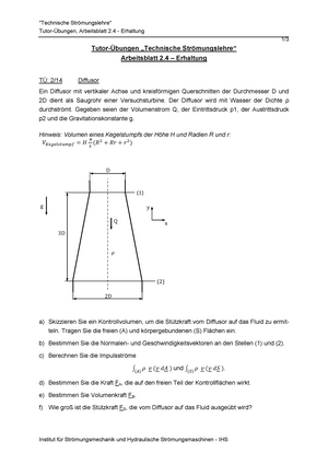 AB2-4 Aufgaben - 3604061: Technische Strömungslehre - StuDocu