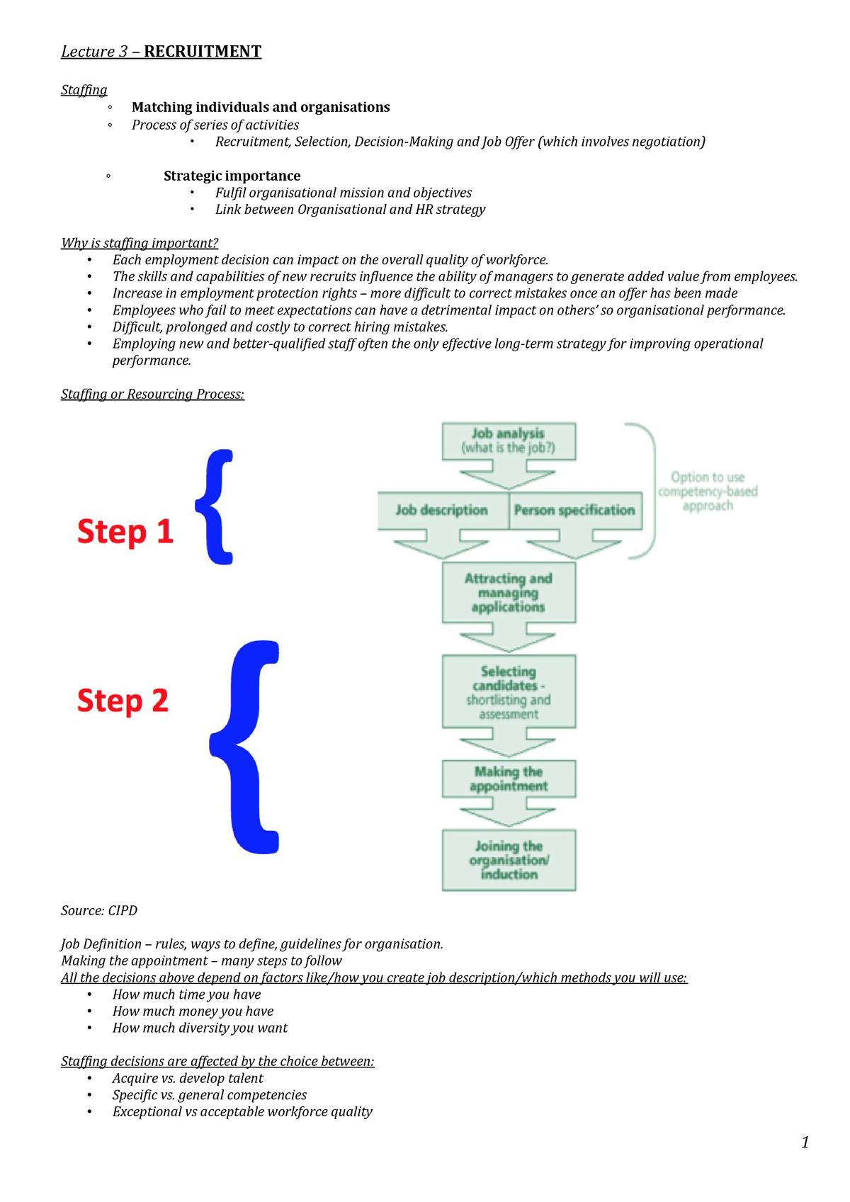 Lecture 3 Recruitment - lec 3 notes - MN20291 - Bath - StuDocu