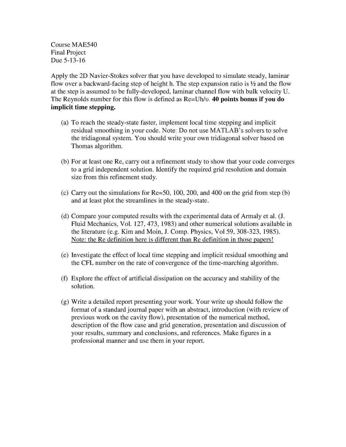 Exam 2016 - MAE 540: Computational Fluid Mech - StuDocu