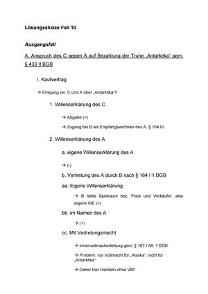 Lisungsskizze Fall 10 Wintersemester 02002 Schuldrecht