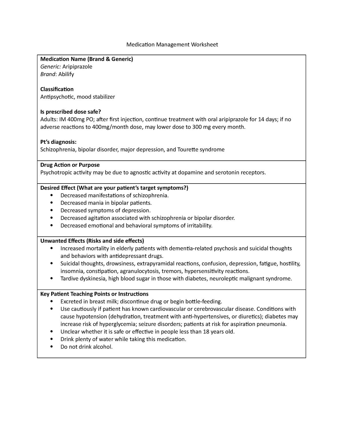 2 Medication Management Worksheets - NURS 260 - CSUSM - StuDocu