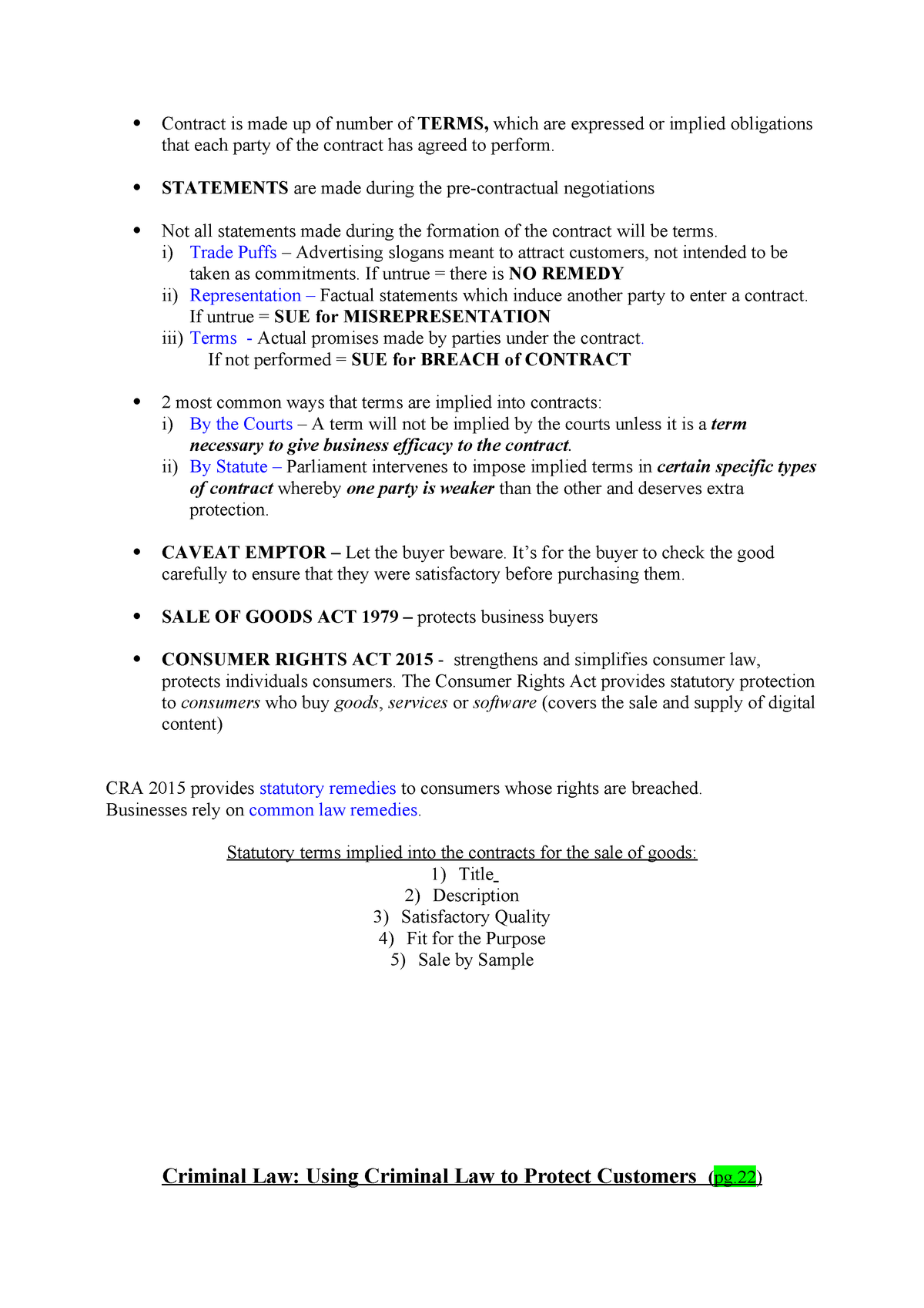 Test Notes for Business Law 2 - IB2370 - Warwick - StuDocu