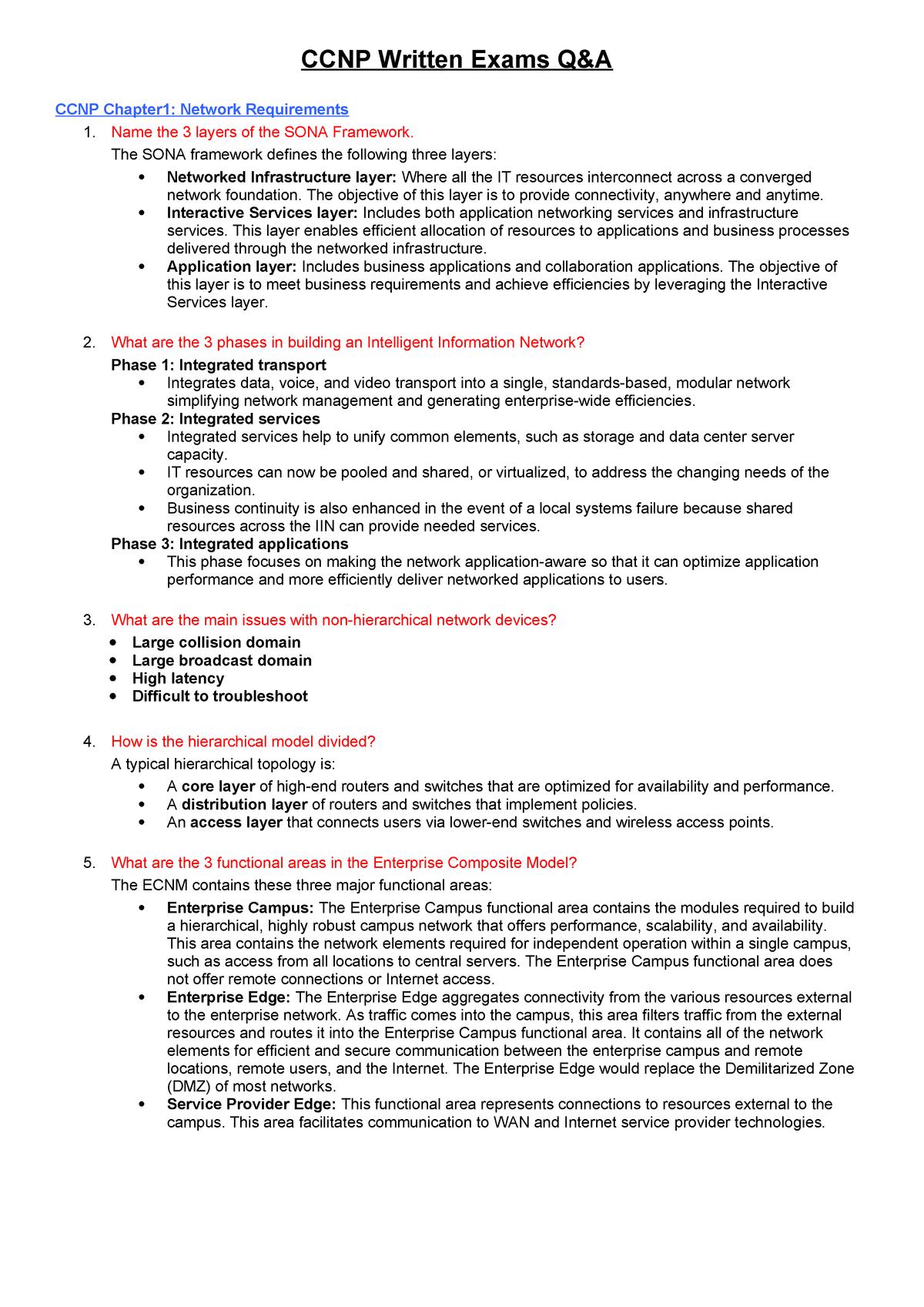 CCNP written exams q&a - chapter 1-7 - EEET2326: Scalable Internet