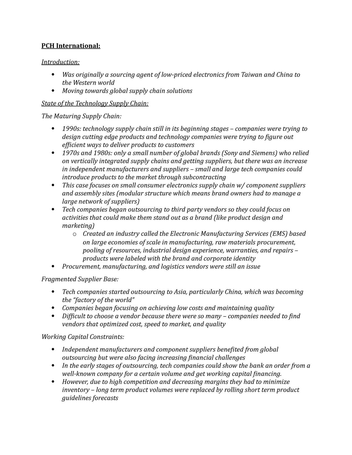 Summary - Case Study: Pch International - SCM 300 - ASU
