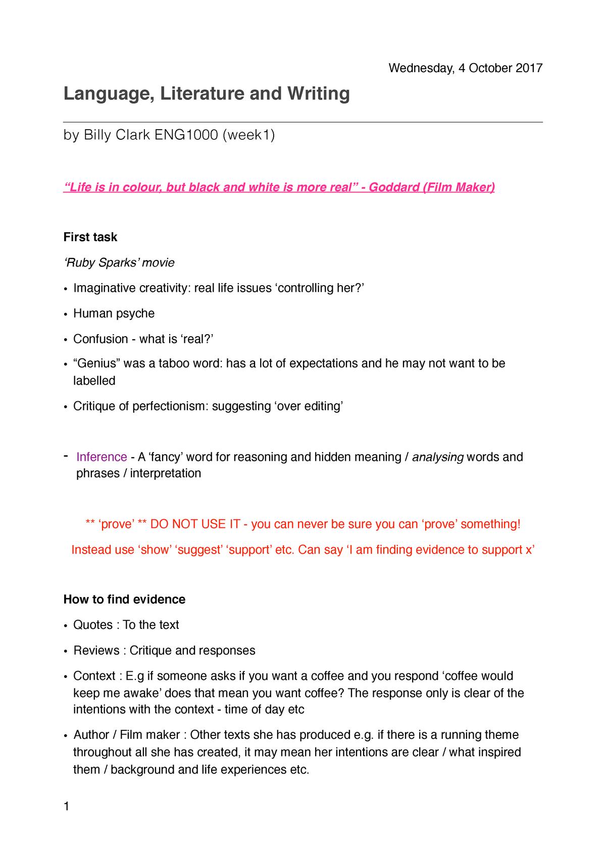 Week 1 Notes - language literature and writing - ENG1000