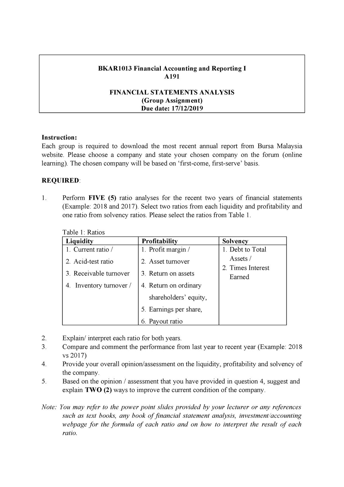 Assignment Financial Statement Analysis A30   StuDocu