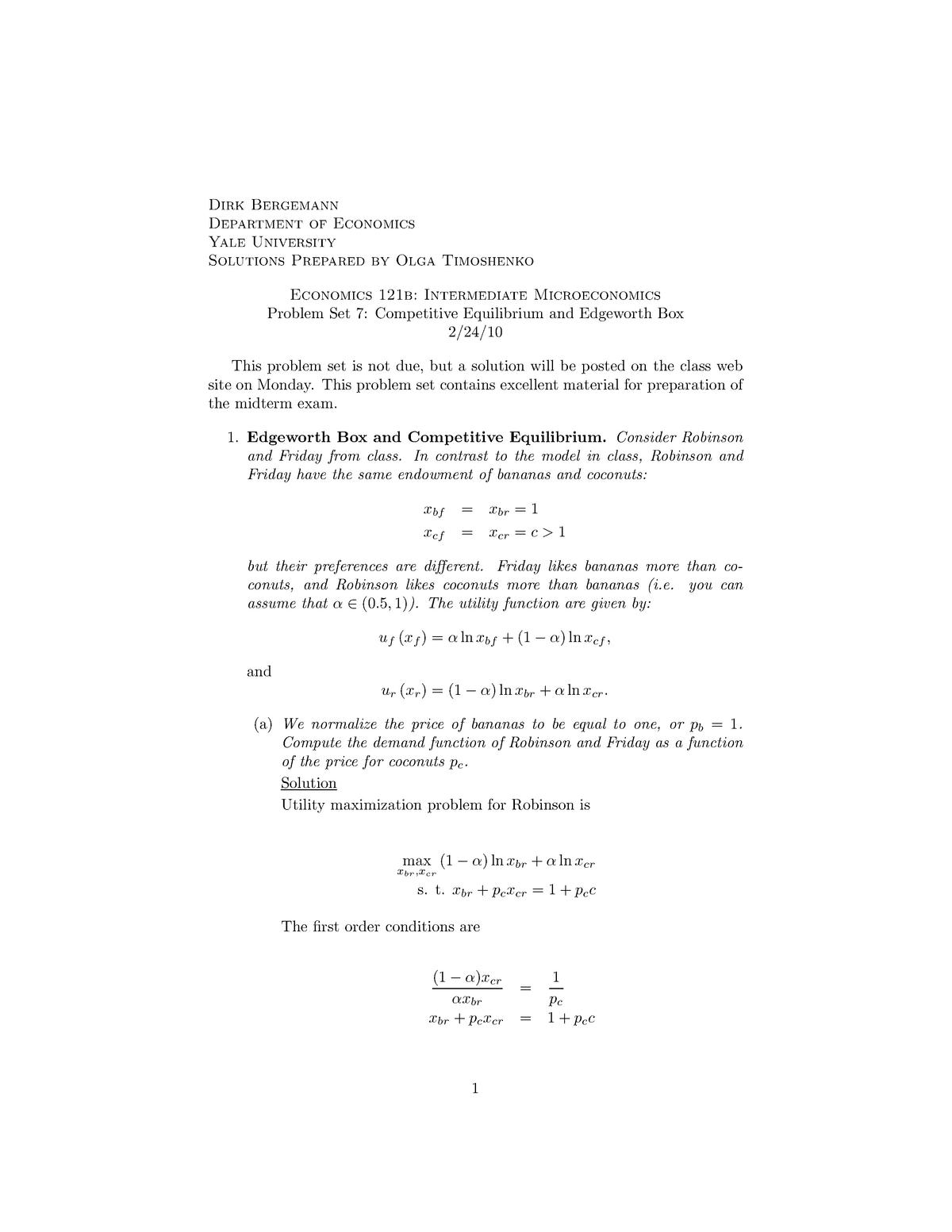 Seminar assignments - Problem set 7: competitive equilibrium