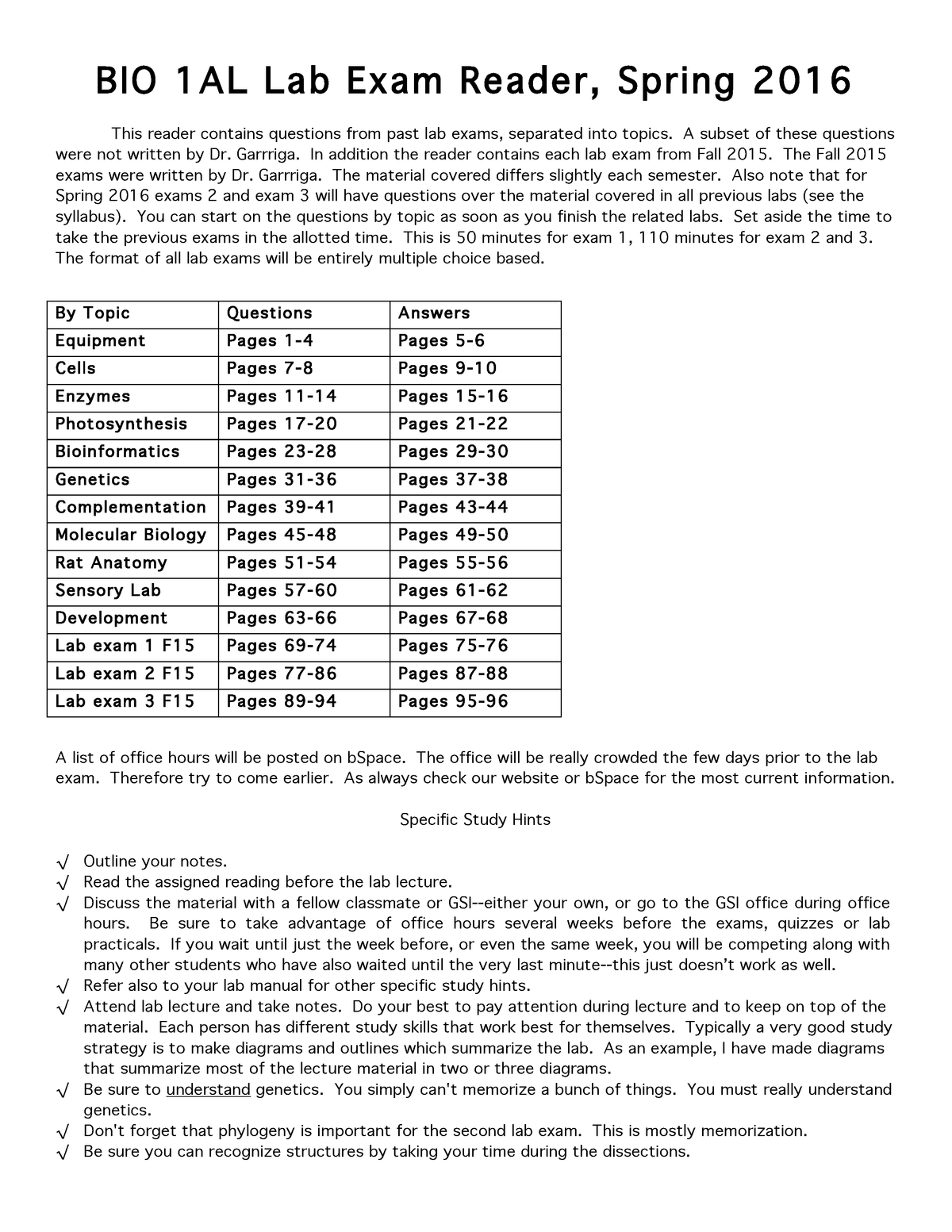 Exam Spring 2016, questions and answers - BIOLOGY 1AL - UCB