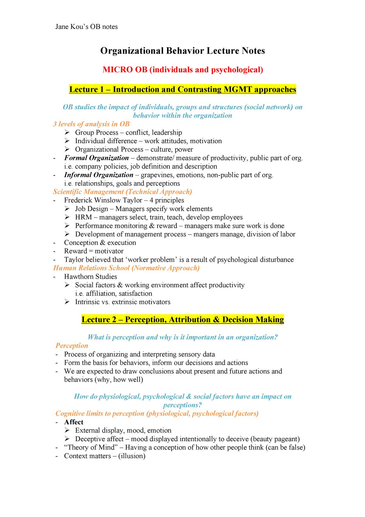 Revision Notes, Organisational Behaviour, courses 1-12 - StuDocu