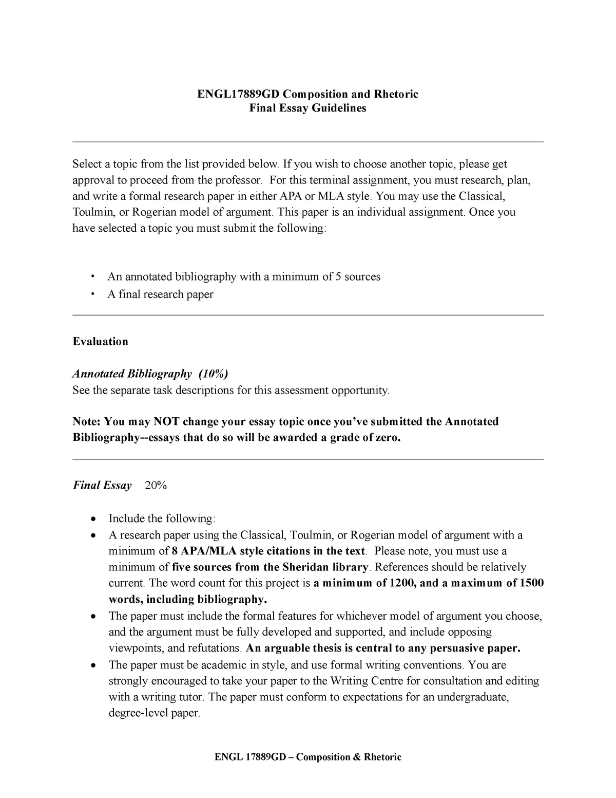 Persuasive Essay Samples For High School  Short English Essays also Thesis For Argumentative Essay Engl Gd  Final Argumentative Essay  Enggd  Studocu Computer Science Essay Topics