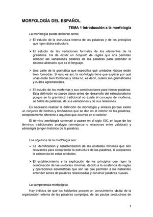 Morfología Del Español Teoría 790022 Uah Studocu